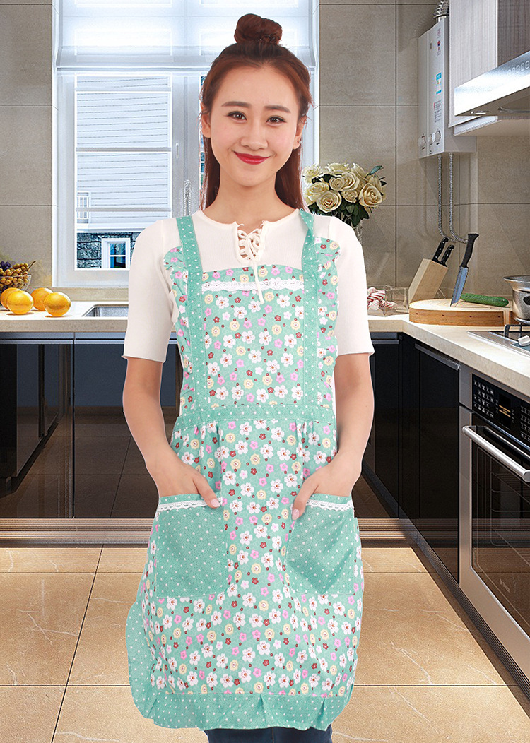 New Printed Apron with Pockets Waterproof Floral Bib Kitchen Soil ...