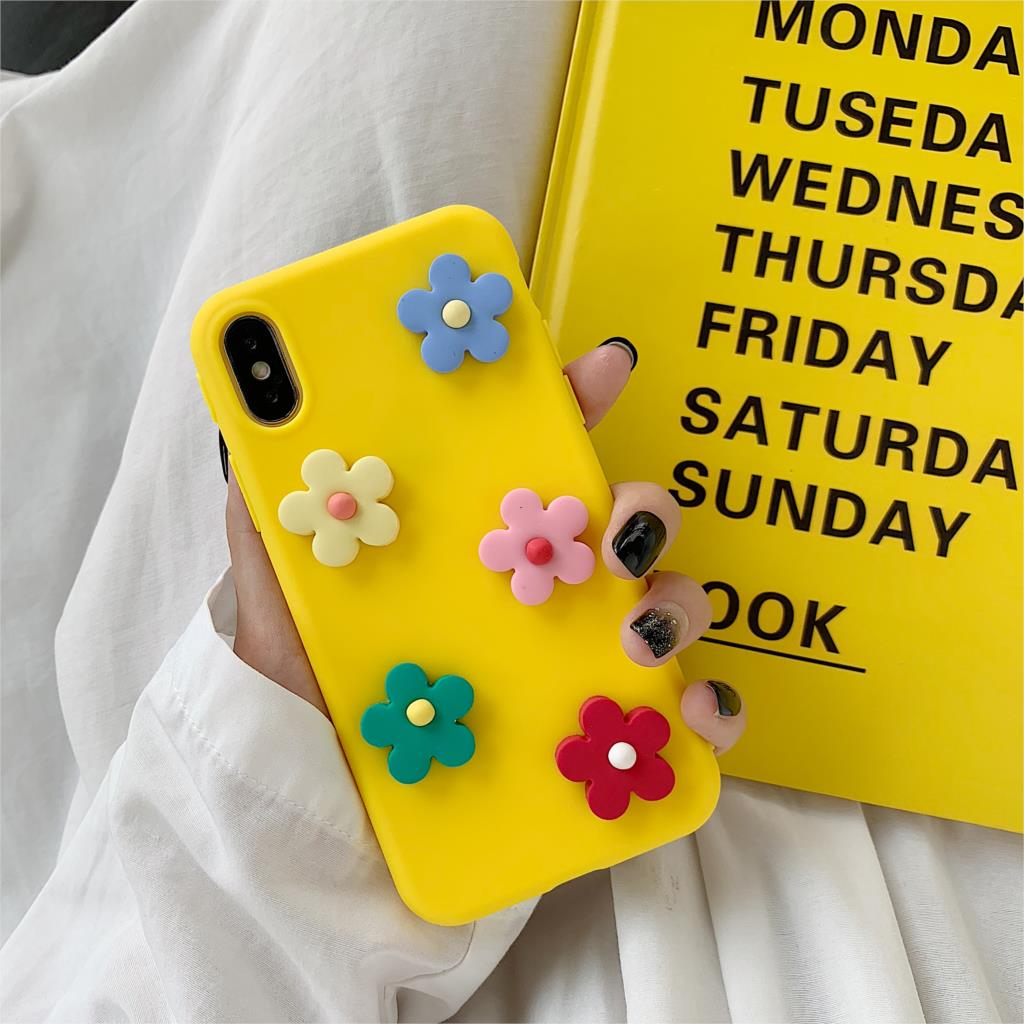DIY Daisy Flower Couples Soft Silicone Funda For Iphone X Case Cute Candy Color Phone Case For Iphone X XR XS Max 6 6S 7 8 Plus