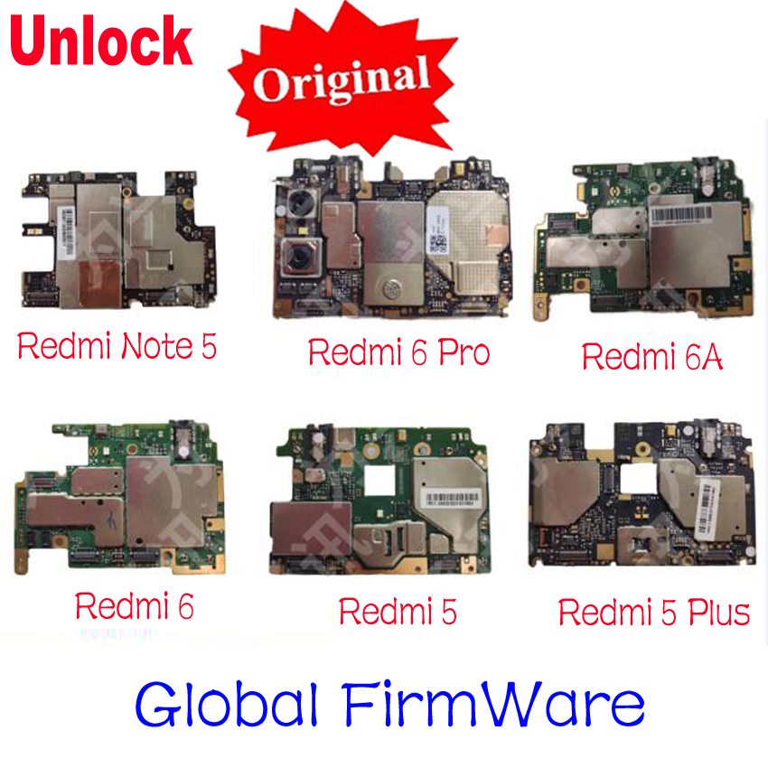 Original Unlock Mainboard For Xiaomi Redmi Note 5 / Redmi 6 Pro Redmi 5 Hongmi 5plus Motherboard Card Fee Chipsets Flex Cable