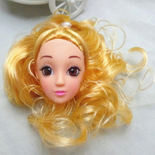 DIY Golden Curly Hair Doll Head with Pretty Makeup Doll Accessories For Barbies 11″ Doll House BJD Kids Toy