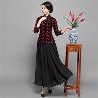 Black Vintage Chinese Blouse Skirt Sets Womens Shirt Tops Mandarin Collar 2pc Clothing Summer Cheongsam Qipao Dress Size M XXXL