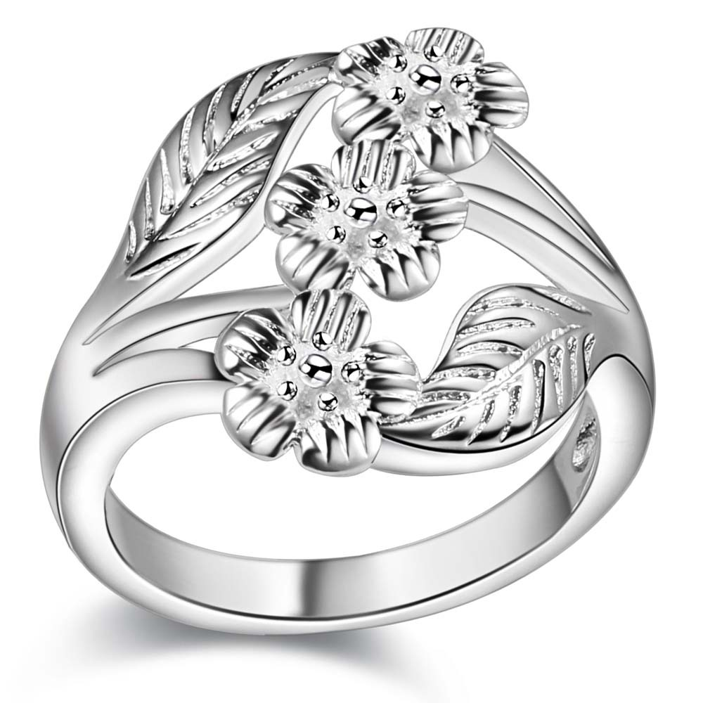 Wholesale Cheap Silver Color Flower Finger Ring Woman Girl Fashion
