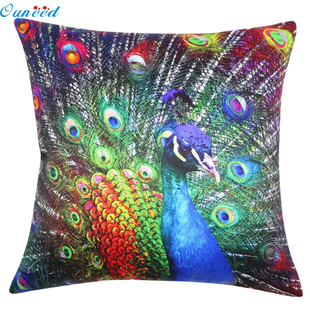 2017 HOT sale Homey Best Selling Peacock Pillow Case Sofa Waist Linen Throw Cushion Cover Home Decor Wholesale price Feb11