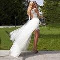 Curto Vestido de Casamento Branco 2017 Colher Lace Destacável Saia Bainha vestido de Noiva Custom made Frete Grátis vestido de noiva curto
