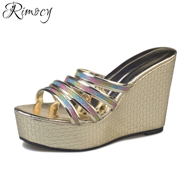72f2855b5d1 Rimocy summer fashion glitter straps high heels shoes women platform sandals  black gold wedge flip flops woman casual slides
