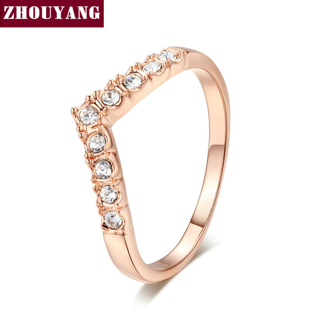 ZHOUYANG Wedding Ring For Women V Lover Elegant Micro-inclosed Cubic Zirconia Rose Gold Color Engagement Fashion Jewelry ZYR011