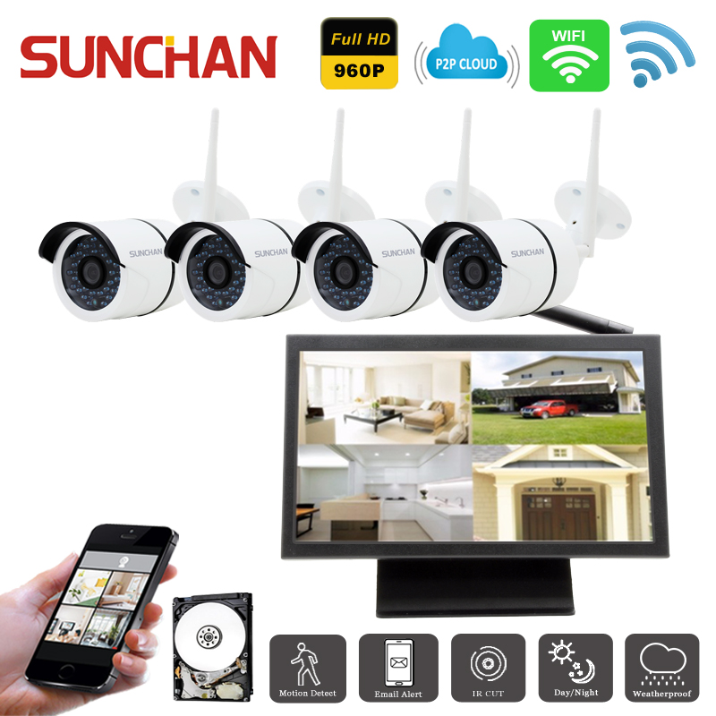 sunchan 4ch 960p wireless nvr kit waterproof surveillance system outdoor wifi cameras video ip. Black Bedroom Furniture Sets. Home Design Ideas