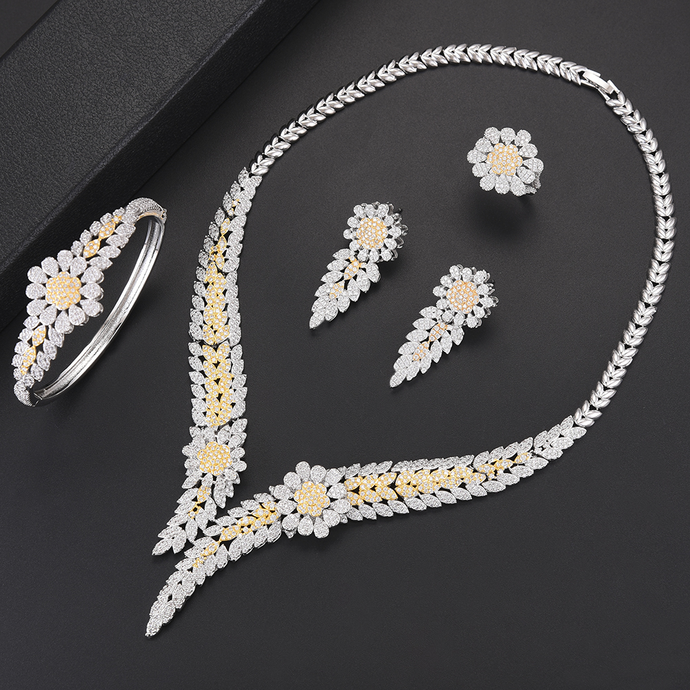 Trendy Flower Shape Dubai Bridal Wedding Pendant necklaces jewelry Sets Collar Necklace Earrings Bracelet Ring Jewelry Sets цены онлайн