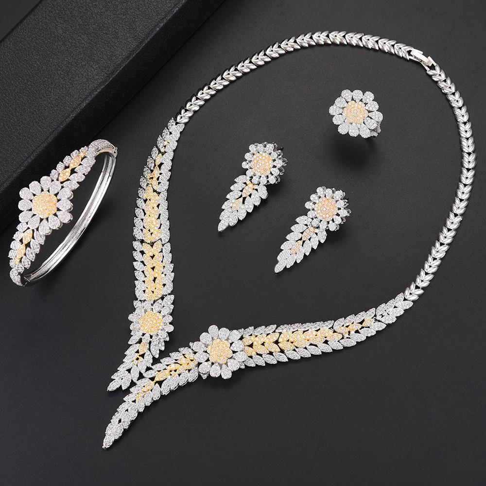 Trendy Flower Shape Dubai Bridal Wedding Pendant necklaces jewelry Sets Collar Necklace Earrings Bracelet Ring Jewelry Sets 4pcs women dubai jewelry sets bridal jewelry set cubic zirconia flower collar necklace earrings bracelet ring wedding jewelry