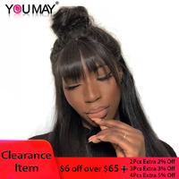 360 Lace Frontal Wig With Bangs Pre Plucked With Baby Hair 150% Brazilian Straight Lace Front Human Hair Wigs Remy You May Hair