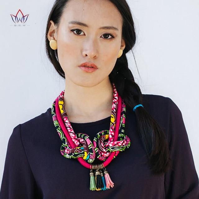1757840ed171 2019 de impresión Africana borla collar mano colores brillantes nudo tela  de Ankara Multi Color collares