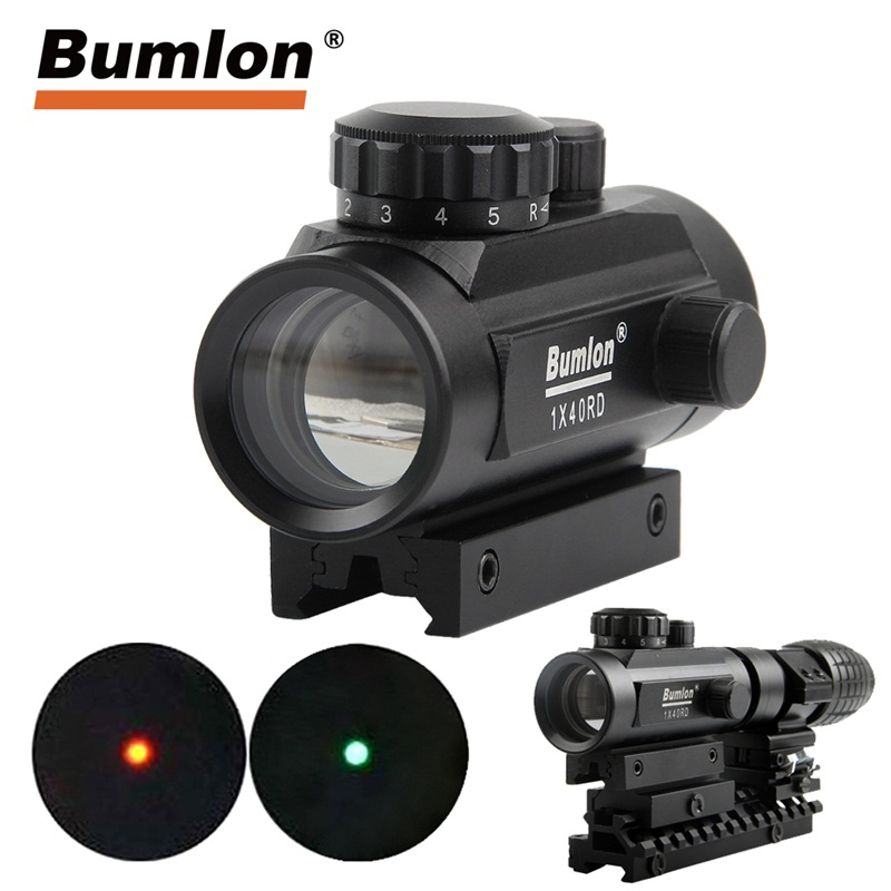 Green & Red Dot Sight Collimator Sight For Hunting Airsoft Red Dot Sight Scope Rail Mount Hunting Airsoft Collimator RL5-0013BL