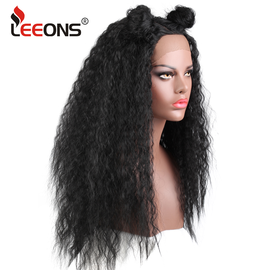 Leeons Kinky Straight Wig Best Quality High Temeperature Fibre Synthetic Wig  For Afro Women Long Black Cosplay Natural Afro Hair  c707f5ff0c