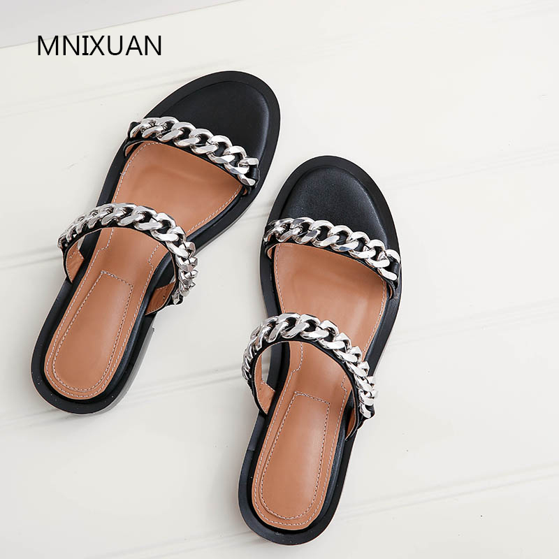 MNIXUAN 2019Handmade comfortable rome women slippers shoes summer new open toe genuine leather low heel solid