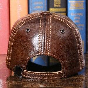 Image 3 - Adulto boné de beisebol masculino inverno ao ar livre chapéu masculino 100% couro genuíno boné pico inverno quente ajustável B 7286