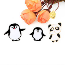 2018 Cartoon animal Pin Panda Mama and baby penguin Brooch Button Pins Denim Jacket Pin Badge Childlike Gift Jewelry for Kid(China)