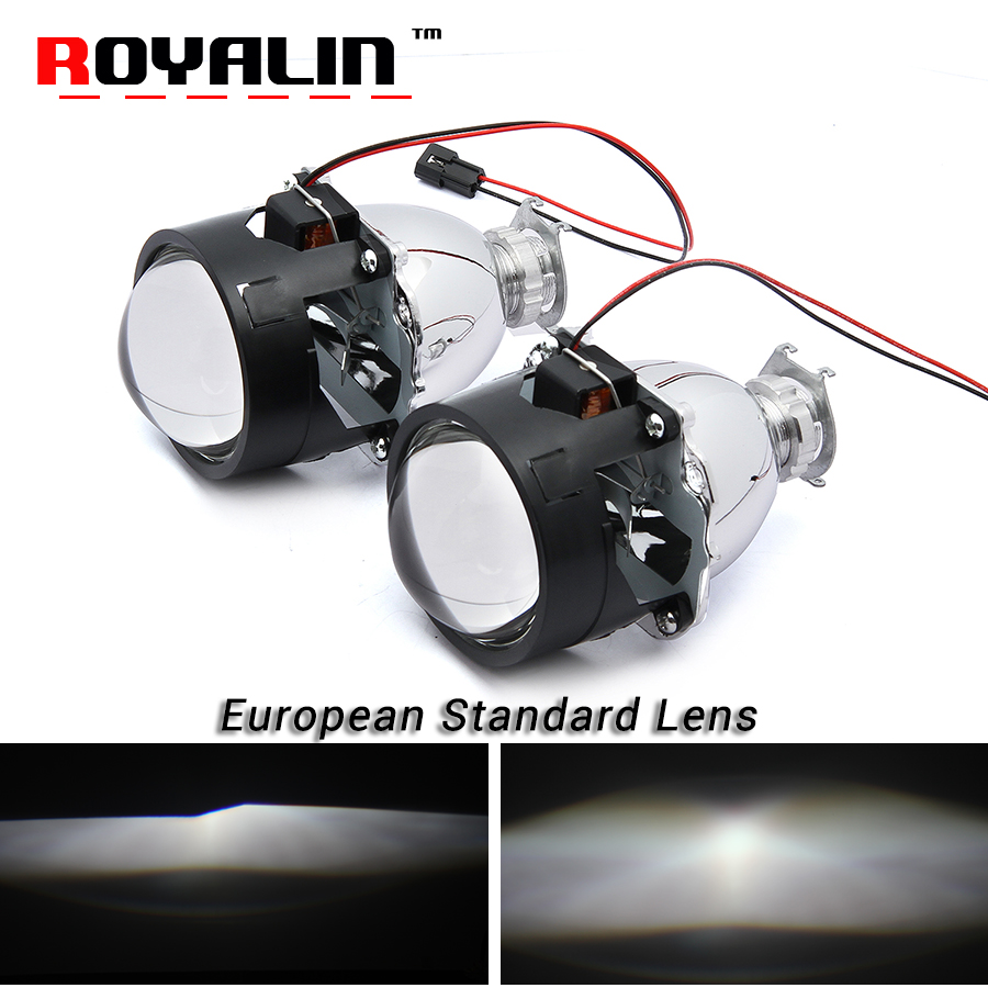 ROYALIN Styling European standard Lenses Bi Xenon H1 HID Projector Headlights Lens 2.5'' for H4 H7 Auto Lamps Retrofits Use H1 royalin car styling hid h1 bi xenon headlight projector lens 3 0 inch full metal w 360 devil eyes red blue for h4 h7 auto light