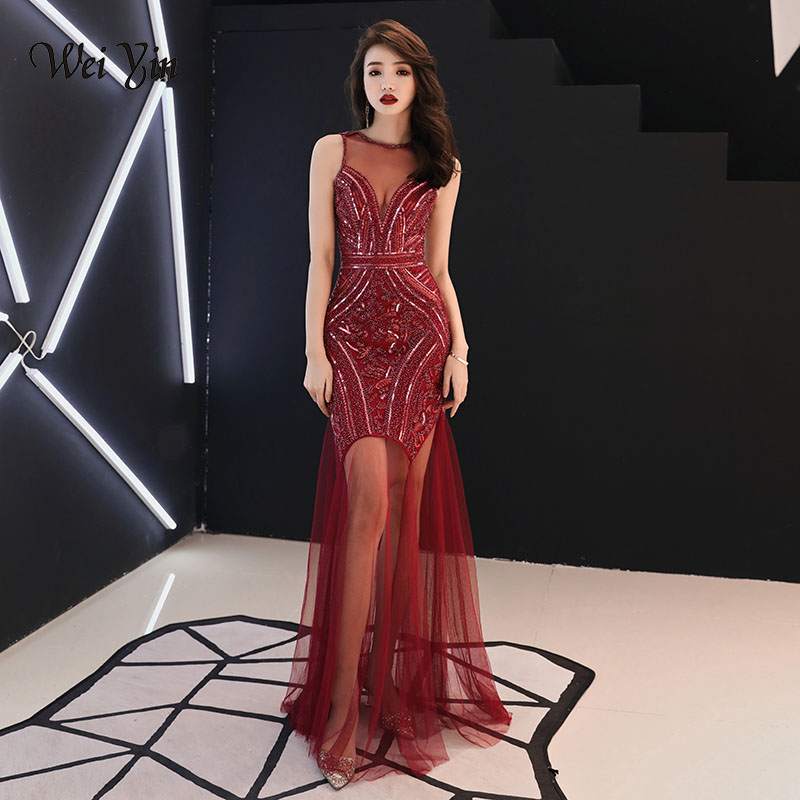 weiyin 2019 Sexy Burgundy Sequins Beading   Evening     Dresses   Mermaid Long Formal Prom Party   Dress   WY733