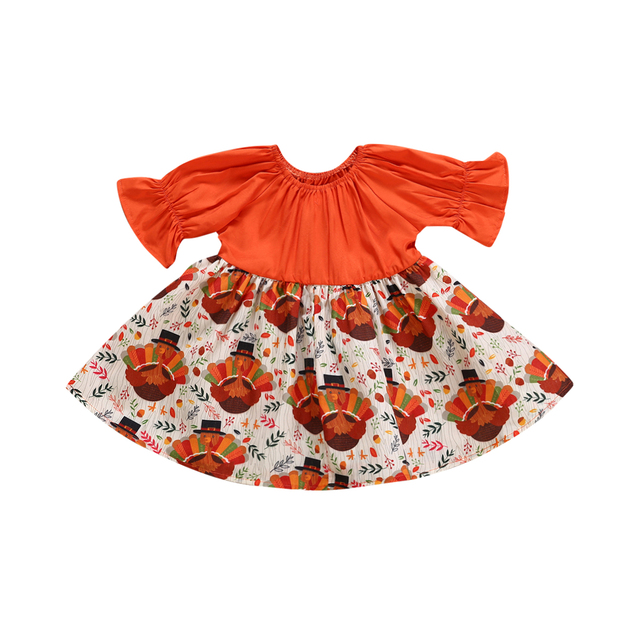 2018 Canis Toddler Kid Baby Girl Thanksgiving Turkey Party Pageant Orange  Autumn Dress Cartoon Holiday Clothes ee8385d3c