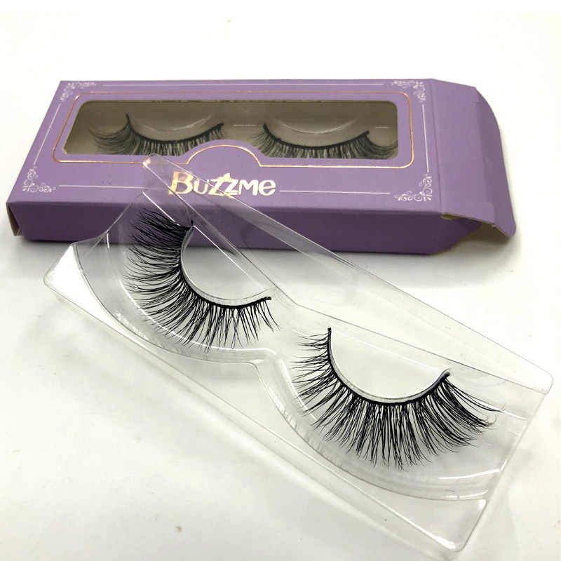 3dc2dace6a2 Buzzme lashes 3D real mink fur beauty eyelashes custom packaging paper box  makeup RM114