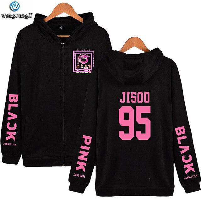 045b286919e3 Kpop BTS Blackpink Hoodies Moletom Com Zíper Mulheres/Blackpink V O Mesmo  Estilo Dos Homens Jaqueta