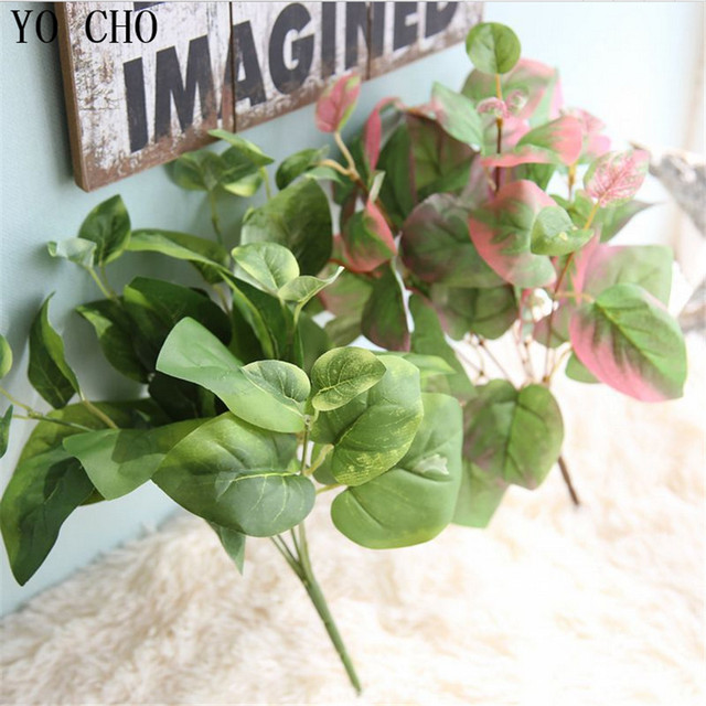 Yo Cho Artificial Plants Succulent Green Ivy Leaves Real Touch Vine Silk Fake Home Wedding Decoration Palm Tree