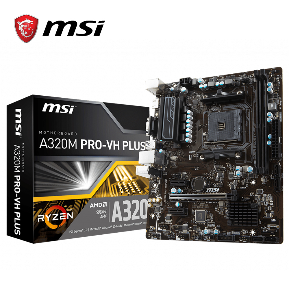 MSI A320M PRO VH PLUS motherboard AMD Socket AM4 ddr4 memory slots Rams SATAIII ssd HDMI