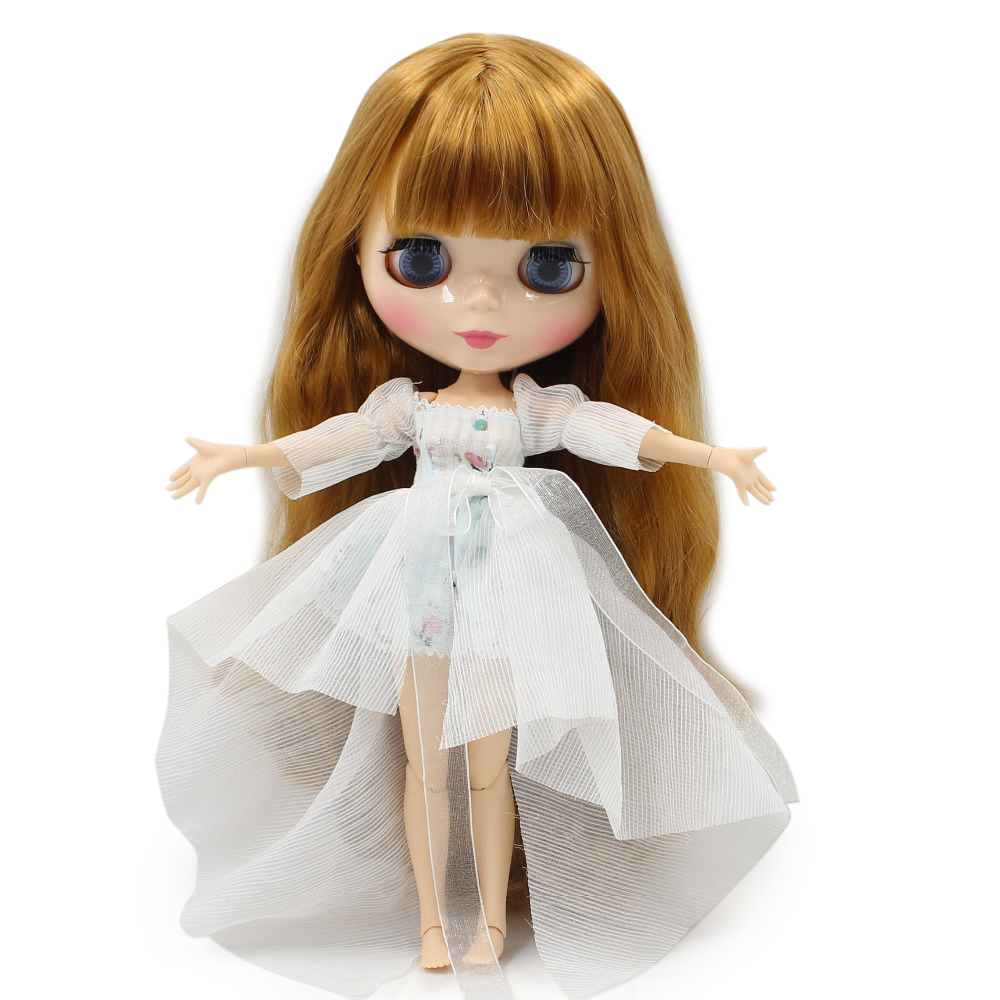 Free shipping blyth doll icy licca body BL764A golden orange hair with bangs/ fringes natural skin joint body 1/6 30cm gift free shipping factory blyth doll icy orange hair with bangs fringes joint body 230bl0145 bjd neo 1 6 30cm