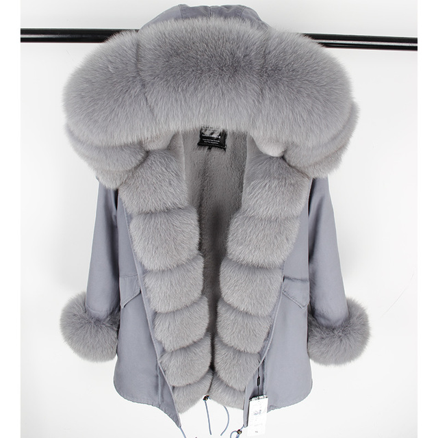 Real Fox Fur Collar Cuff Coat
