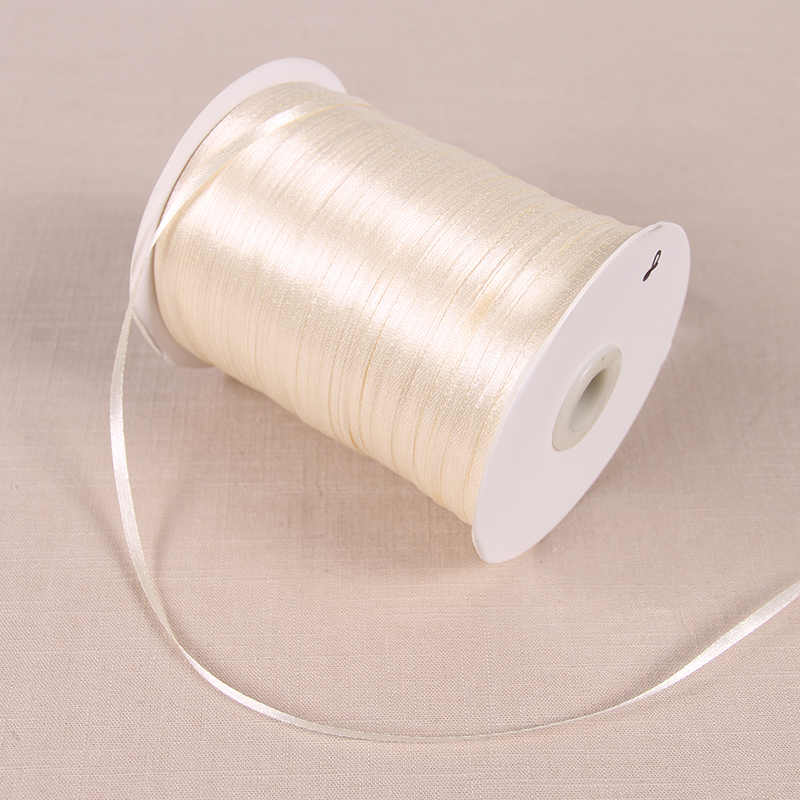3mm סרטי סאטן 22 Meters/Lots DIY מלאכת אספקת חתונת מסיבת יום הולדת קישוט אריזת מתנה גלישת סרטים לבנים