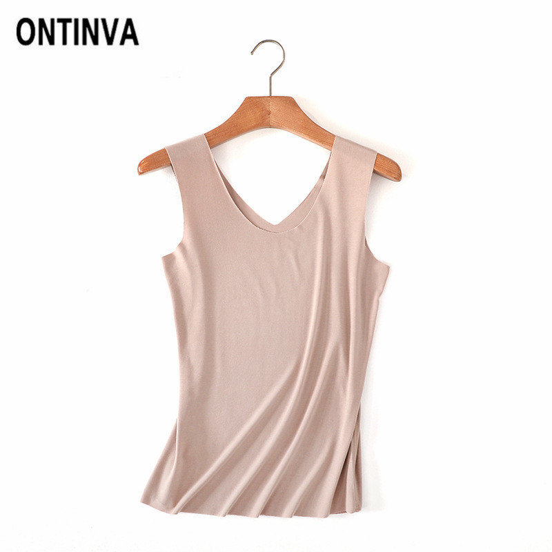 Summer Sexy Seamless Undershirts Tank Tops for Women Black White V Neck Cami Pink Girls Camisa Feminina Clothes M L XL XXL Vest