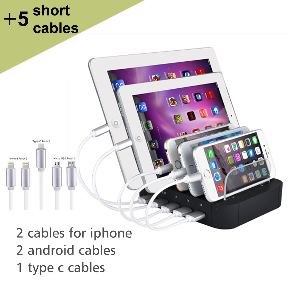 Evfun USB Charging Station 5 Port With Short Cables Charger Station Dock Desktop Multi Port Charger for Phone iPhone iPad Huawei