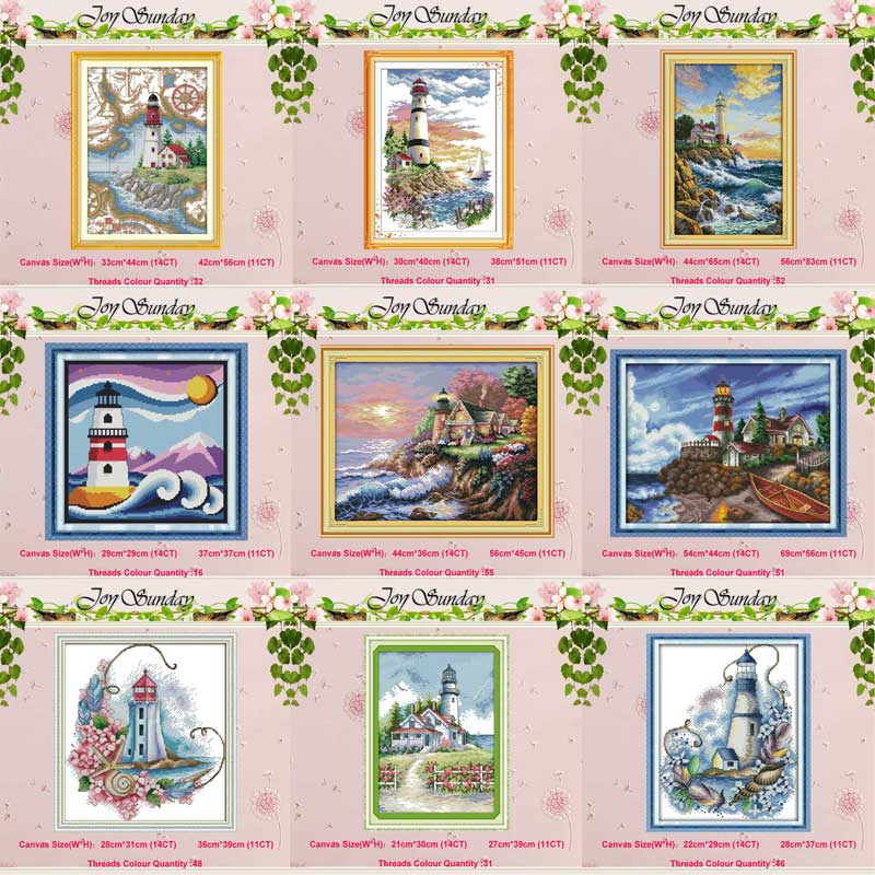 Lighthouse Seaside Beacon Light Tower Painting Counted 11CT 14CT Cross Stitch Set DIY DMC Cross-stitch Kit Embroidery Needlework