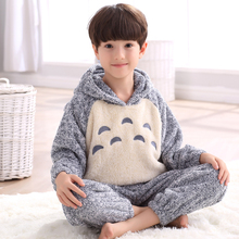 Boy Kids Pajamas With Hat Sleepwear Winter Warm Flannel Long Sleeves Nightshirt Anime Pullover lounge Pajama Set