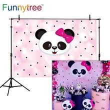 Funnytree 배경 사진 핑크 만화 팬더 폴카 도트 어린이 생일 파티 사진 배경 카메라 photophone