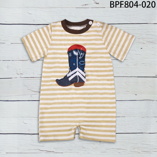 fdaafeeb9c594 New Fashion Factory Wholesale Price Toddler Cotton Rompers Newborn Summer  Boy Striped Boot Embroidery Summer Clothes