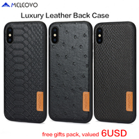 Original Meleovo Brand Hard Leather Back Case For IPhone X Luxury Magnetic PC Retro For IPhone