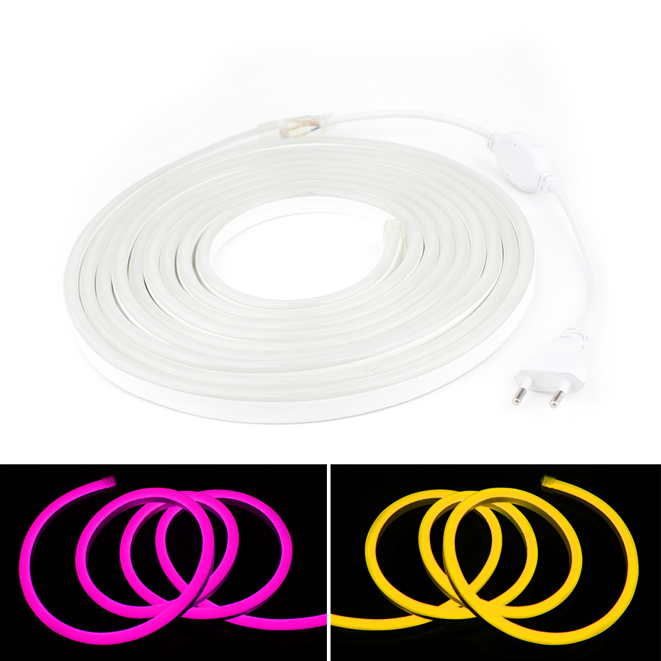 1m 20m Led Neon Light Waterproof Led Strip Rgb 220v Smd2835 Neon Tira Led Tape Light Flexible Diode Ribbon For Home Decoration