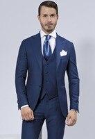 Vestido de Boda para hombre Delgado Traje Comercial ropa de Hombre Trajes de Hombre Azul Marino de Moda de Tres Piezas Traje (Traje + pantalones + Chaleco)