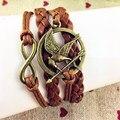 Ювелирные изделия кожа двойной бесконечное многослойных браслет номер 8 и голодные игры браслет