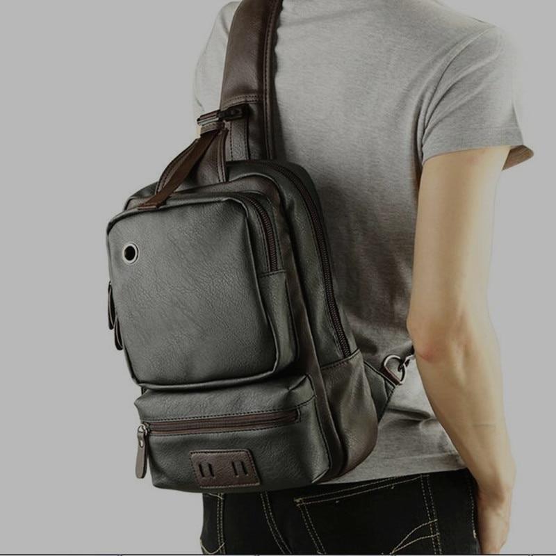 8487b284c32d Fashion Design Men Chest Pack Single Shoulder Strap Back Bag Leather Travel  Men Crossbody Bags Vintage Rucksack Chest Bag Brown on Aliexpress.com