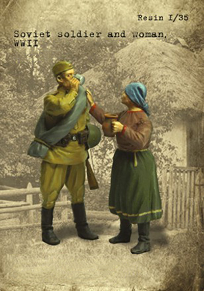 Assembly Unpainted  Scale 1/35 Soviet Man  And Woman,    Summer Historical Toy Resin Model Miniature Kit