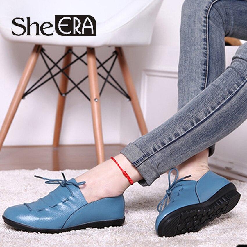 She ERA Women Flats Genuine Leather Women Shoes Soft Bottom Mum Shoes Leisure Non-slip Peas Shoes for Woman