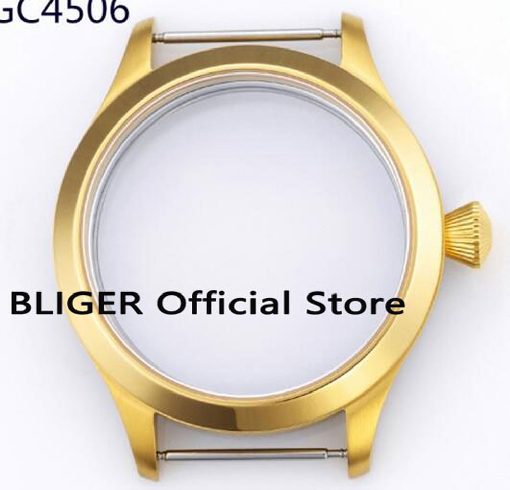45MM Sapphire Glass Golden Plated Stainless Steel Watch Watch Case Fit For ETA 6497 6498 Hand Winding Movement C50 46mm matte silver gray stainless steel watch case fit 6498 6497 movement watch part case with mineral crystal glass