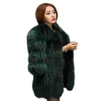 2019 новый европейский и американский большой из меха енота пальто, меховые пальто куртка и длинные стильное пальто с укороченными рукавами