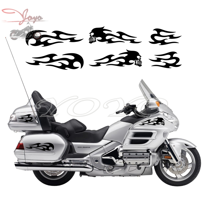 Skull Flame Decals Sticker Fairing Stickers Saddlebag Decal For Honda GL1800 Gold Wing