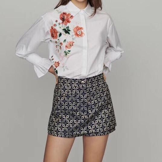 2019 printemps nouveau flare à manches longues imprimé floral 100% coton blanc blouse chemises