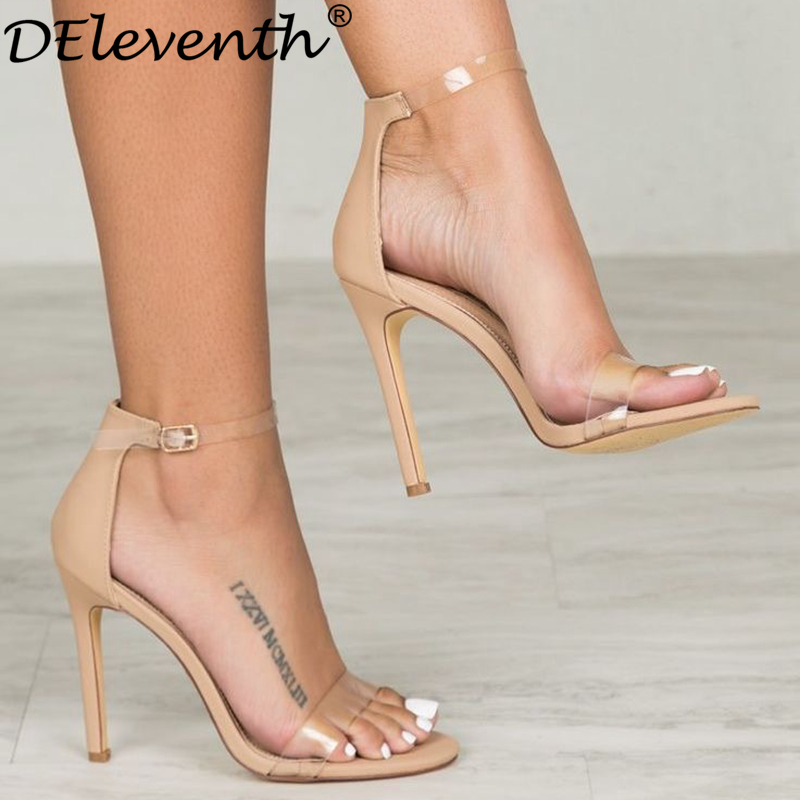 fcde063887d6 DEleventh Classic Brand Designer Woman Black Nude Transparent Clear Glass  PVC Peep Toe Stilettos High Heel Sandals Plus Shoes 43-in High Heels from  Shoes on ...
