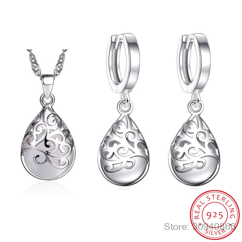 Hot Sale 925 Sterling Silver Jewelry Sets White/Pink Moonstone Opal Tears Totem Earrings Necklace Sets For Women S-N83 S-E321