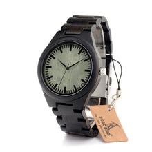 BOBO de AVES H03 Mens Dial Negro Reloj de Madera De Ébano De Madera Verde madera Vínculos Causales De Madera de Cuarzo Reloj de Pulsera para Los Hombres de Regalo caja